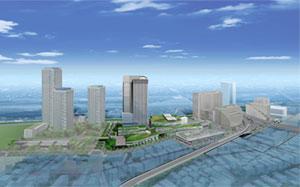 「二子玉川東第二地区第一種市街地再開発事業」イメージパース(10年6月29日現在)