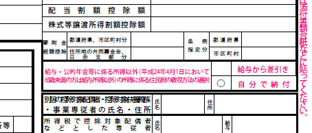 確定申告書B(第二表)「住民税・事業税に関する事項」(部分)
