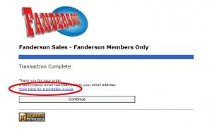 Fanderson Sales完了画面