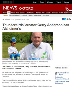 BBC News「Thunderbirds' creator Gerry Anderson has Alzheimer's」(部分)