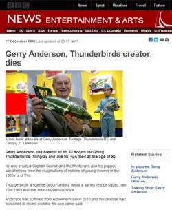 BBC News「Gerry Anderson, Thunderbirds creator, dies」(部分)