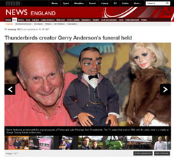 BBC News「Thunderbirds creator Gerry Anderson's funeral held」(部分)