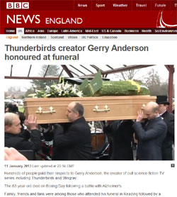 BBC News「Thunderbirds creator Gerry Anderson honoured at funeral」(部分)