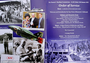 The Order of Service – Gerry Anderson's Funeral
