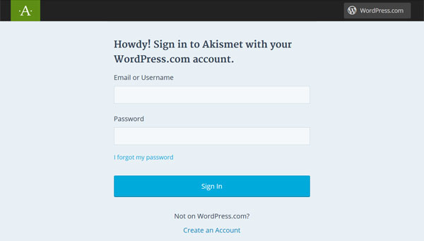 Sign in to Askimet
