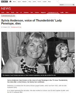 BBC News「Sylvia Anderson, voice of Thunderbirds' Lady Penelope, dies」(部分)